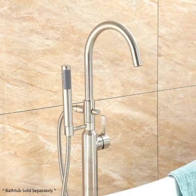 Modern Freestanding Single-Handle Floor-Mount Roman Tub Faucet Filler with Hand Shower in Brushed Nickel