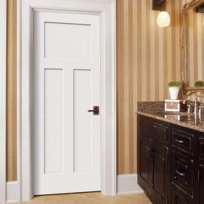 30 in. x 80 in. Craftsman White Painted Left-Hand Smooth Solid Core Molded Composite MDF Single Prehung Interior Door