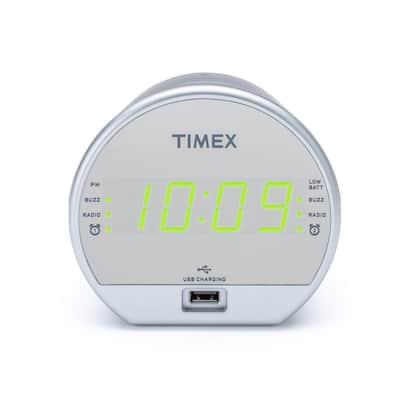 Stylish Mirror Dual Alarm FM Clock Radio with USB Charging and Battery Backup
