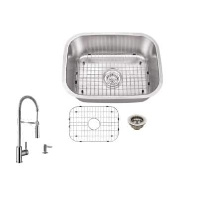 All-In-One Undermount 18-Gauge Stainless Steel 23-1/4 in. 0-Hole Single Bowl Bar Sink with Pull Down Kitchen Faucet