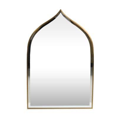 Delliah 36.25 in. x 24 in. Modern Novelty Framed Brushed Brass Accent Mirror
