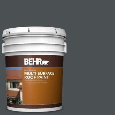 5 gal. #PPU18-01 Cracked Pepper Flat Multi-Surface Exterior Roof Paint