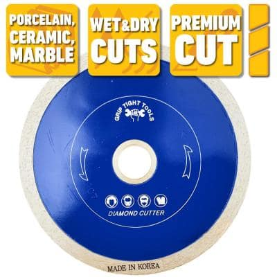 7 in. Premium Continuous Rim Tile Cutting Diamond Blade for Cutting Porcelain, Ceramic and Marble (10-Pack)