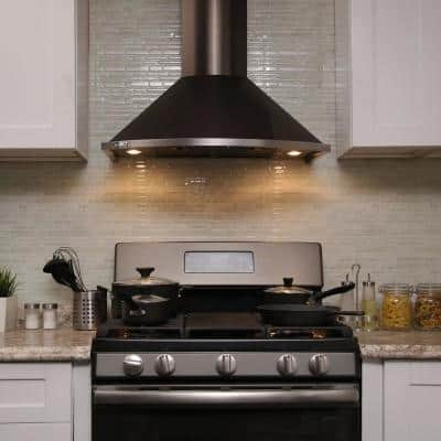 30 in. 343 CFM Convertible Wall Mount Range Hood Push Button, LED Lights, Carbon Filters in Black Stainless Steel