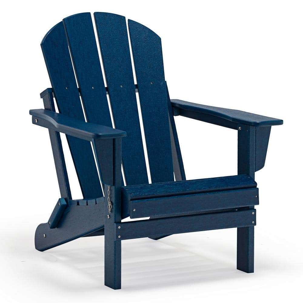 Westin Outdoor Addison Navy Blue Folding Plastic Outdoor Adirondack Chair 2001112 The Home Depot