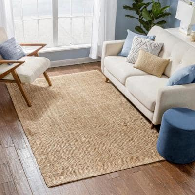 Lani Boucle Natural 8 ft. x 10 ft. Hand-Woven Jute Farmhouse Solid Pattern Area Rug