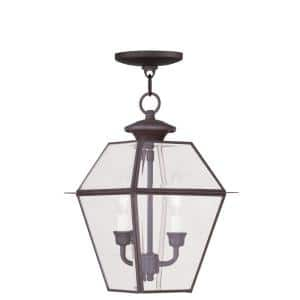 Westover 2 Light Bronze Outdoor Pendant Lantern