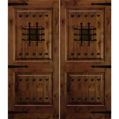 72 in. x 80 in. Mediterranean Knotty Alder Square Top with Provincial Stain Right-Hand Wood Double Prehung Front Door