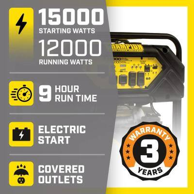 15,000/12,000-Watt Gasoline Powered Electric Start Portable Generator