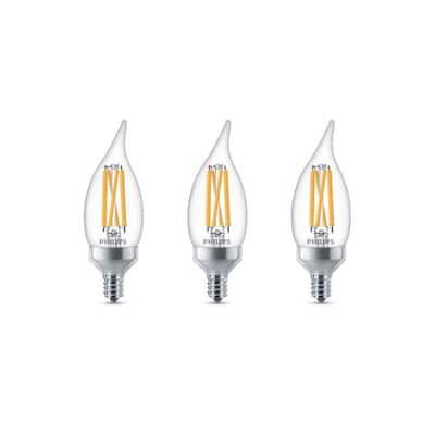 75-Watt Equivalent BA11 Dimmable Edison Glass LED Candle Light Bulb Bent Tip Candelabra Base Daylight (5000K) (3-Pack)