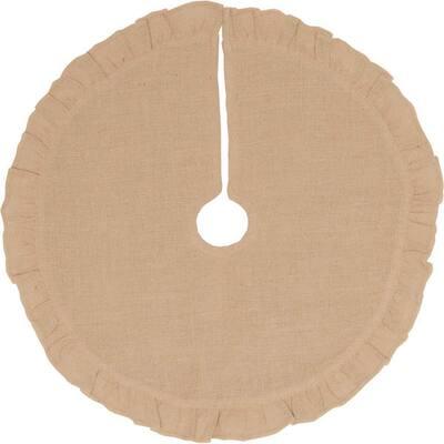 21 in. Jute Burlap Natural Tan Holiday Rustic and Lodge Decor Tree Skirt
