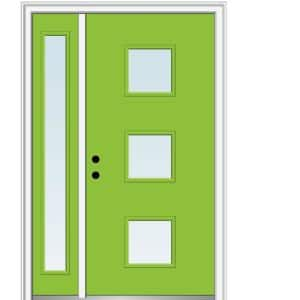 Mmi Door 51 In X 81 75 In Aveline Low E Glass Right Hand 3 Lite Modern Painted Fiberglass Smooth Prehung Front Door W Sidelite Z0346070r The Home Depot