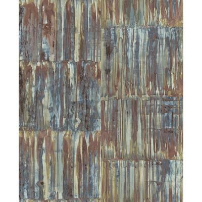 Patina Panels Multicolor Metal Multicolor Wallpaper Sample