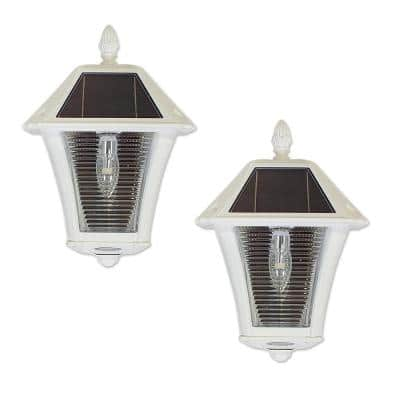 Baytown II Bulb 2-Light White Resin Solar Outdoor Wall Sconce (2-Pack)