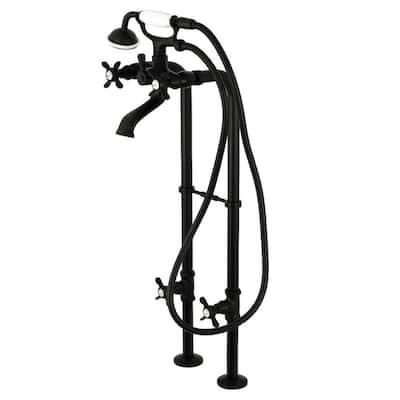 Lever 3-Handle Freestanding Floor-Mount Claw Foot Tub Faucet with Handshower in Matte Black