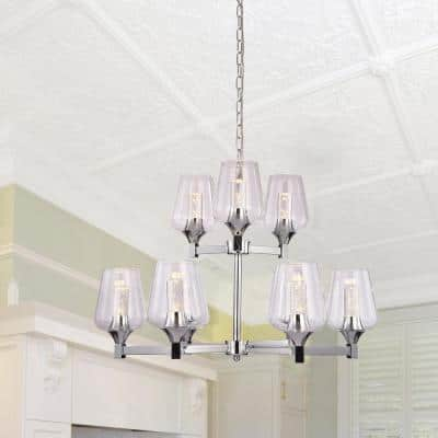 9-Light Brushed Nickel Modern Chandelier with Clear Glass Shades