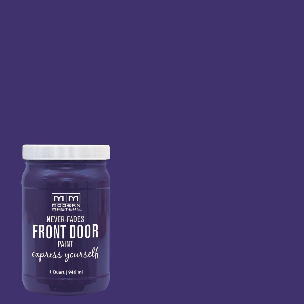 Express Yourself 1 qt. Satin Spiritual Purple Water-Based Front Door Paint