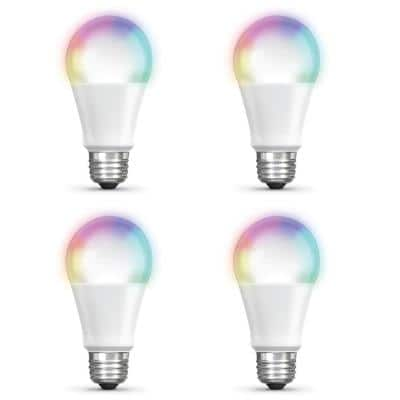 60-Watt Equivalent A19 Dimmable Full Color Changing Bluetooth Apple HomeKit LED Smart Light Bulb (4-Pack)