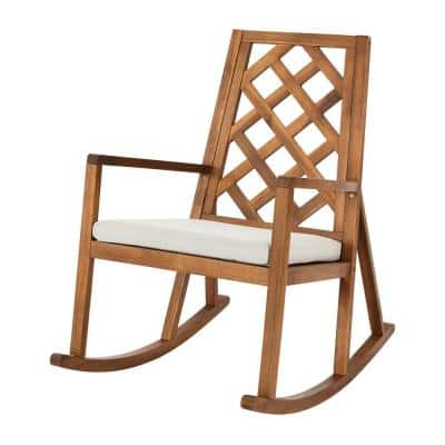 Willow Glen Farmhouse Wood Outdoor Patio Rocking Chair with Teak Finish and Beige Cushion