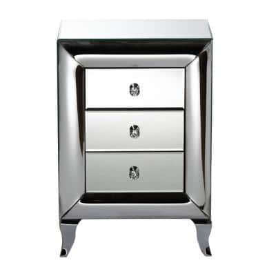 Pauline 3-Drawer Mirrored Nightstand 26 in. H x 18 in. W x 14 in. D