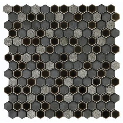 Eclectic Vintage Crackled Metal 12 in. x 12 in. x 8 mm Porcelain Mosaic Floor and Wall Tile (0.89 sq. ft./Each)