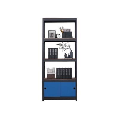 "Kepsuul 32"" W x 16"" D x 77"" H Black Four Shelf + 1 Navy Blue Door Customizable Modular Wood Shelving & Storage"