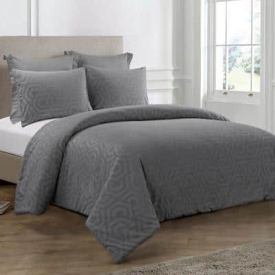 Seville 3-Piece Grey Cotton Queen Comforter Set