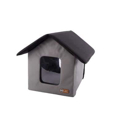 Gray/Black Outdoor Kitty House (Unheated) - 18 in. x 22 in. x 17 in.