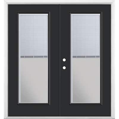 72 in. x 80 in. Jet Black Steel Prehung Right-Hand Inswing Mini-Blind Patio Door in Vinyl Frame with Brickmold