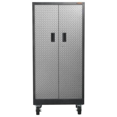 Premier Series Pre-Assembled 65 in. H x 30 in. W x 18 in. D 4-Shelf Steel Rolling Garage Cabinet in Silver Tread