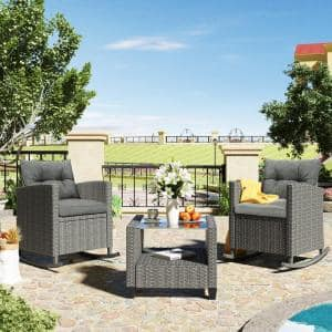 Adda 3-Piece Wicker Patio Conversation Set with Grey Cushions and Glass-Top Coffee Table