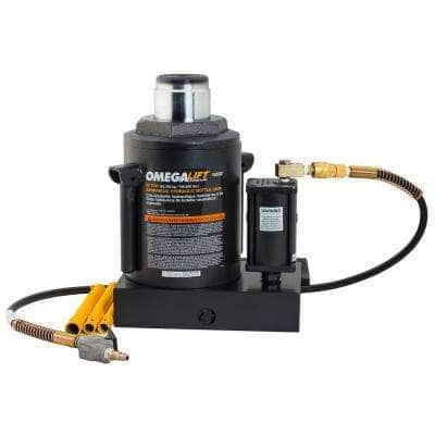Black Hydraulic Air Actuated Bottle Jack 50-Ton Capacity