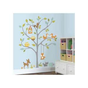 2.5 in. x 27 in. Woodland Fox and Friends Tree 80-Piece Peel and Stick Wall Decal