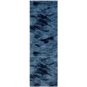 Retro Light Blue/Blue 2 ft. 3 in. x 15 ft. Runner Rug