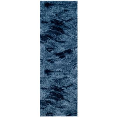 Retro Light Blue/Blue 2 ft. 3 in. x 15 ft. Runner Rug