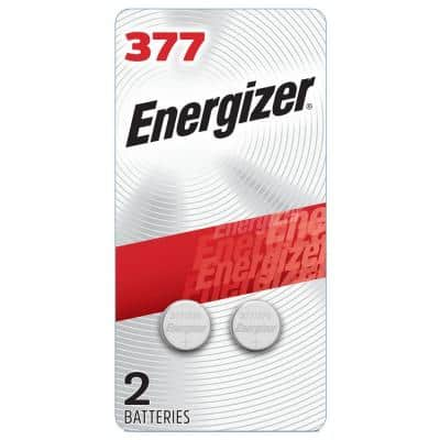 Energizer 377 Silver Oxide Button Battery, 2 Pack