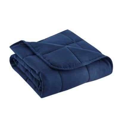 Navy Microfiber Travel 40 in. x 50 in. x 5 lbs. Weighted Throw Blanket