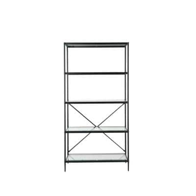 70 in. Black/Clear Stainless Steel 5-Shelf Bookcase with Open Back
