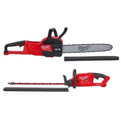 M18 FUEL 16 in. 18-Volt Lithium-Ion Brushless Cordless Hedge Trimmer Chainsaw Combo Kit (2-Tool)