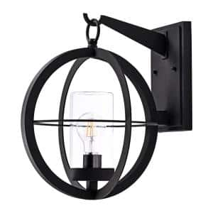 1-Light Black Outdoor Wall Lantern Sconce with Clear Glass Tube