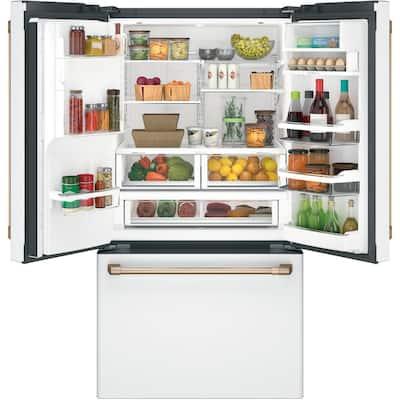 27.8 cu. ft. Smart French Door Refrigerator with Hot Water Dispenser in Matte White, Fingerprint Resistant