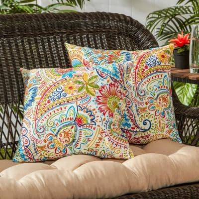 Jamboree Paisley Square Outdoor Throw Pillow (2-Pack)