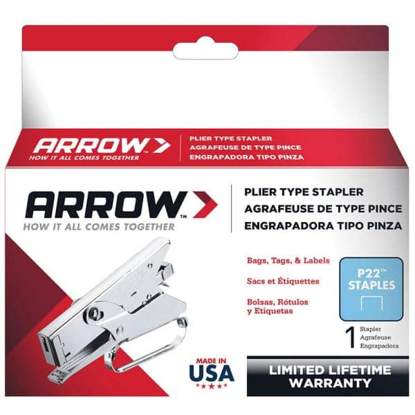 Plier Type Stapler Arrow Fastener P22 Heavy Duty Steel Construction Chrome New