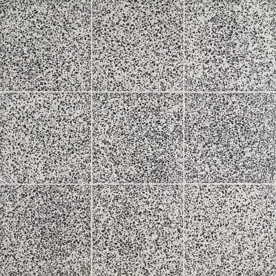 Raleigh Black and White Square 16 in. x 16 in. Polished Cement Terrazzo Floor and Wall Tile (3.55 sq. ft./Case)