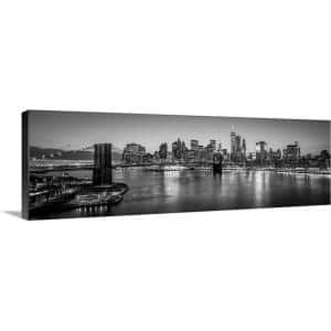Greatbigcanvas New York City Skyline With Brooklyn Bridge In Foreground Evening Black And White By Circle Capture Canvas Wall Art 2417950 24 36x12 The Home Depot