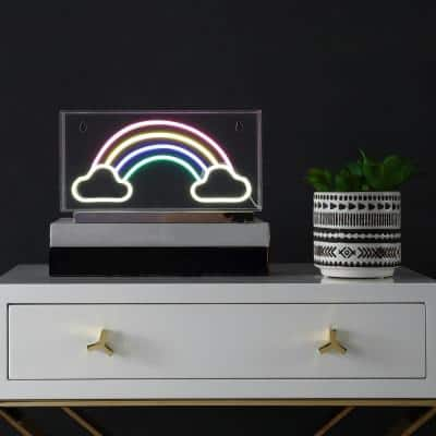 Rainbow 5.9 in. Multi-Colored Contemporary Glam Acrylic Box USB Operated LED Neon Lamp