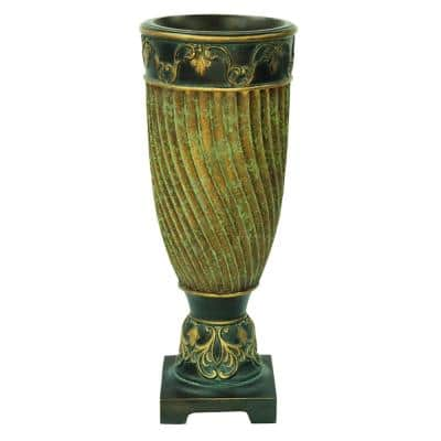 Neptune Green and Gold Polyresin Decorative Vase