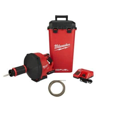 M18 FUEL 18-V Lithium-Ion Cordless Drain Cleaning Snake Auger, 5/16in. Cable Drive Kit 5/16in.x50ft Inner Core Bulb Head