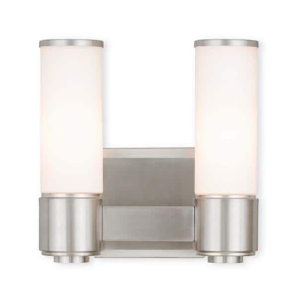 Livex Lighting Weston 2 Light Brushed, Bathroom Wall Sconces Brushed Nickel