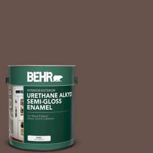 Behr 1 Gal N150 7 Chocolate Therapy Urethane Alkyd Semi Gloss Enamel Interior Exterior Paint 393001 The Home Depot